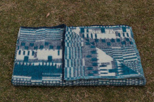 Вълнено одеяло Пиано, синьо